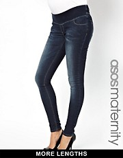 ASOS Maternity Ridley Skinny Jeans In Dark Vintage Wash With Stretch Waistband