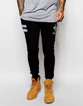 Criminal Damage Skinny Joggers With Reflective Fleur
