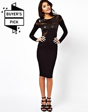 ASOS Midi Dress With Sequins And Mesh