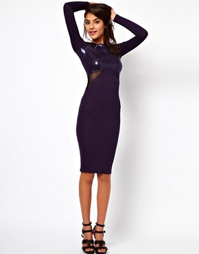 Image 4 ofASOS Midi Dress With Sequins And Mesh