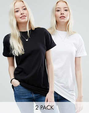 ASOS The Ultimate Easy Longline T-Shirt 2 Pack Save 10%