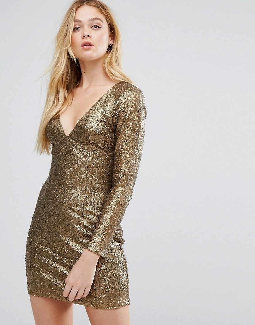 Little Mistress Heavily Embellished Gold Bodycon Dress