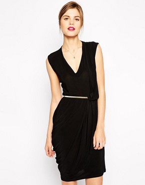 ASOS Crepe Pencil Dress with V Neck and Metal Belt