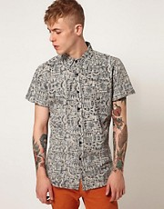 Afends Shirt Cribbin Short Sleeve All Over Reverse Print