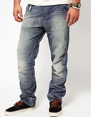G Star - Motor Elwood 3D Embro Lt - Jeans larghi stretti in fondo invecchiati