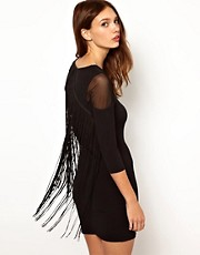 Warehouse Fringe Back Dress
