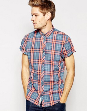 Blend Shirt Short Sleeve Button Down Large Check