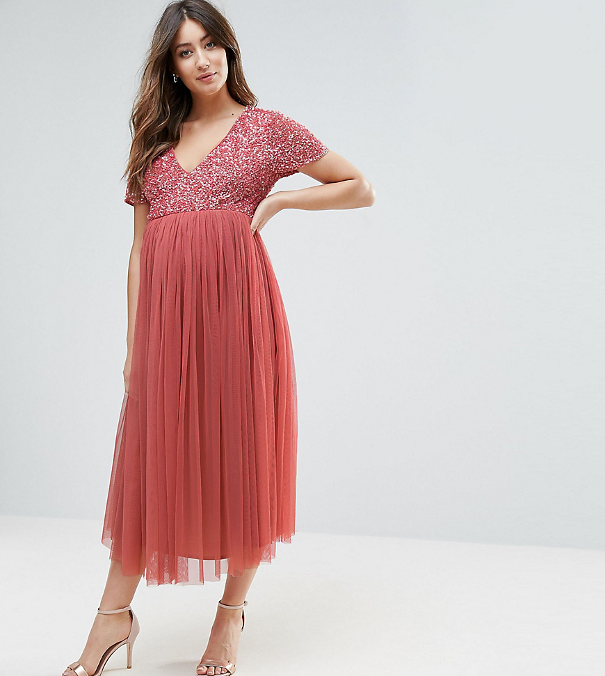 Maya Maternity Sequin Embellishment Midi Dress With Tulle Skirt