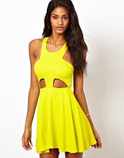 Oh My Love Textured Skater Dress with Cut Out Detail