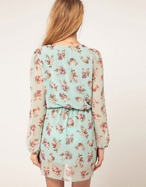 Image 2 ofLove Chiffon Floral Print Wrap Dress