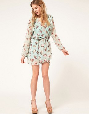 Image 4 ofLove Chiffon Floral Print Wrap Dress
