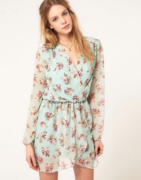 Image 1 ofLove Chiffon Floral Print Wrap Dress