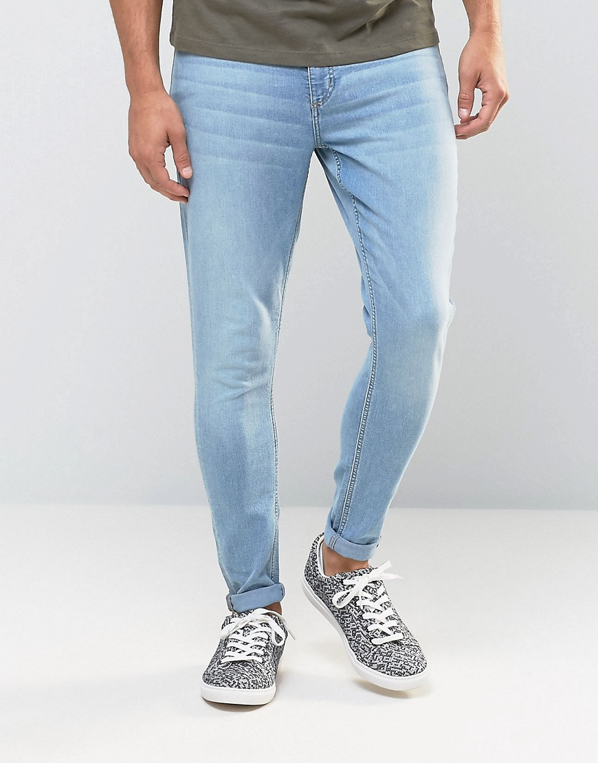 Cheap Monday Jeans Mid Spray Extreme SuperStretch Skinny Fit Stone Bleach - Blue