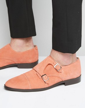 ASOS Monk Shoes In Coral Suede With Toe Cap
