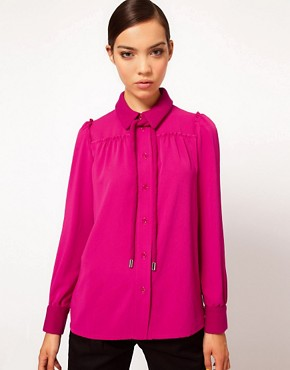 Image 1 ofSonia by Sonia Rykiel Wool Crepe Blouse with Bow Detail
