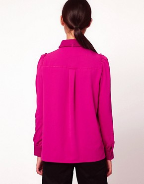 Image 2 ofSonia by Sonia Rykiel Wool Crepe Blouse with Bow Detail