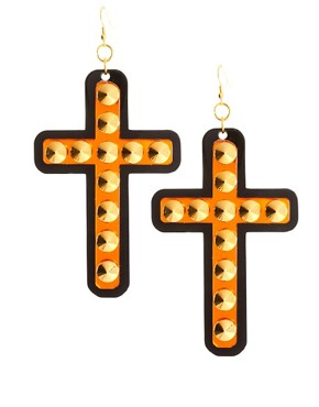 Image 1 ofFunky Bling Oversized Cross Earrings