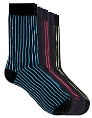River Island &ndash; Socken mit Neon-Streifen im 5er-Pack