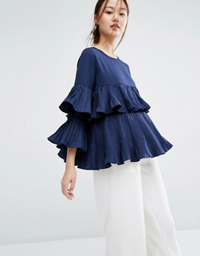 Zacro Layered Pleated Ruffle Blouse