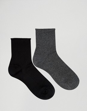 Oysho 2 Pack Roll Top Socks
