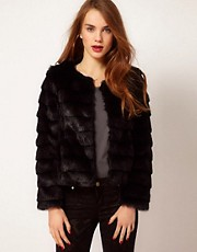 A Wear Collarless Faux Fur Jacket