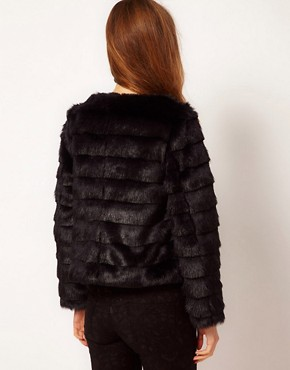 Image 2 ofA Wear Collarless Faux Fur Jacket