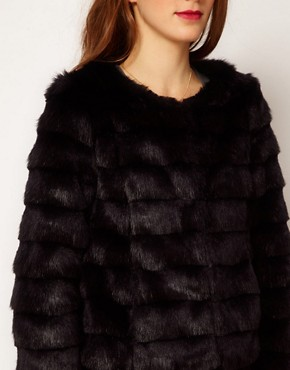 Image 3 ofA Wear Collarless Faux Fur Jacket