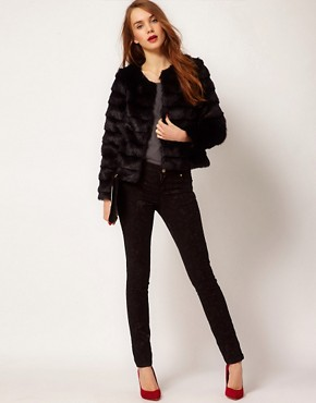 Image 4 ofA Wear Collarless Faux Fur Jacket