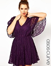 ASOS CURVE - Vestito in pizzo con retro a mantella