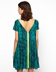 BA&amp;SH Printed V Back Dress with Fleuro Zip