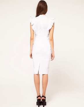 Image 2 ofHybrid Dress with Deep V Neck and Frill Sleeves
