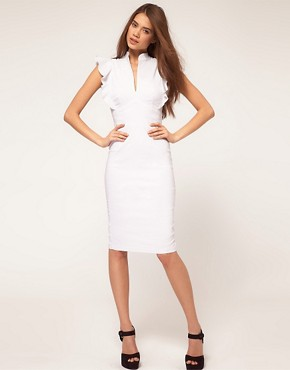 Image 1 ofHybrid Dress with Deep V Neck and Frill Sleeves