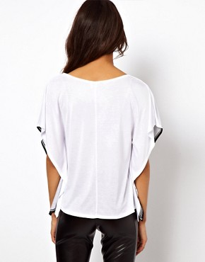 Image 2 ofASOS PETITE Exclusive T-Shirt With Black Cat Print