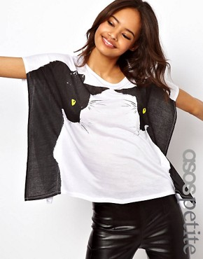 Image 1 ofASOS PETITE Exclusive T-Shirt With Black Cat Print