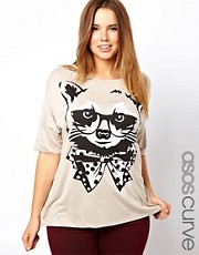 ASOS CURVE Exclusive T-Shirt With Posh Racoon Print