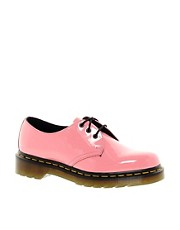 Zapatos de charol brillante en rosa cido 1461 de Dr Martens