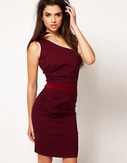 Hybrid Pencil Dress With One Bow Shoulder