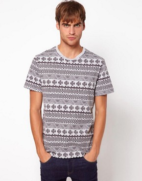 Image 1 ofRiver Island T-Shirt in Aztec Marl
