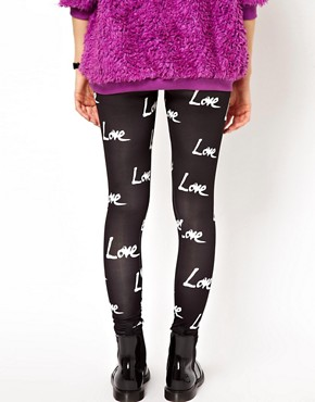 Image 2 ofASOS High Shine Leggings in Love Print
