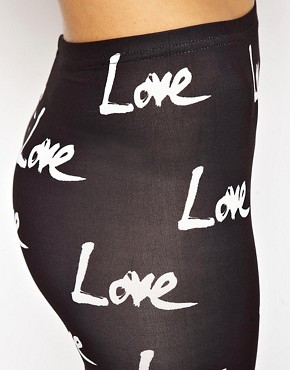 Image 3 ofASOS High Shine Leggings in Love Print