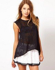 Pencey Sleeveless Lace Armor Blouse
