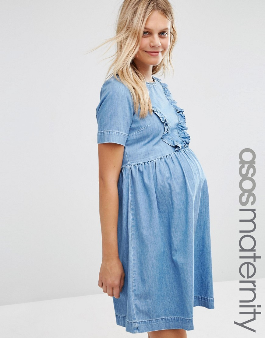 ASOS Maternity Denim Smock Dress With Ruffle Hem - Blue