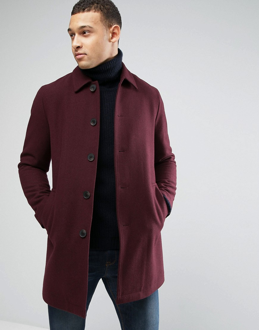 ASOS Wool Mix Trench Coat In Burgundy - Red