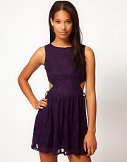 Club L Lace Cut Out Skater Dress