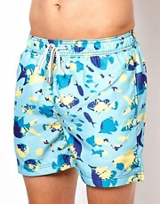 Shorts de bao clsicos con peces pintados de Oiler & Boiler