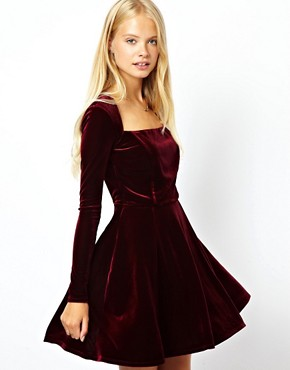 Image 1 of ASOS Velvet Skater Dress
