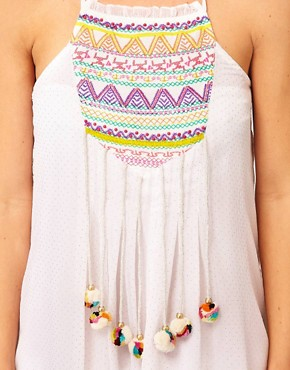 Image 3 ofRiver Island Embroidered Pom Pom Dress