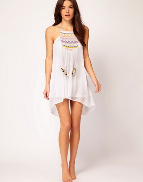 Image 4 ofRiver Island Embroidered Pom Pom Dress