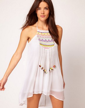 Image 1 ofRiver Island Embroidered Pom Pom Dress