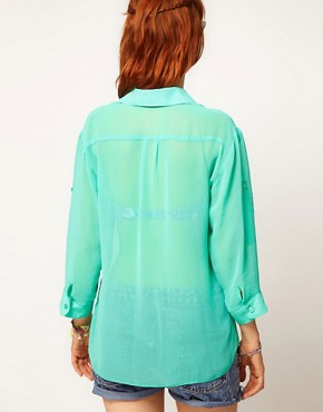 Image 2 ofASOS Sheer Shirt With Roll Back Sleeve